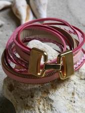 HanneHaves Stoere leren wikkel armband in roze