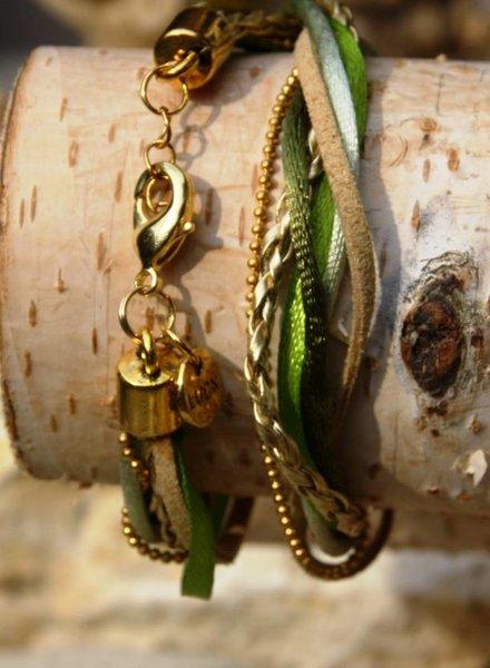 Bynookz Wrap bracelet green and gold