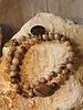 HanneHaves Natuursteen armbanden combi Roodbruin grote steen
