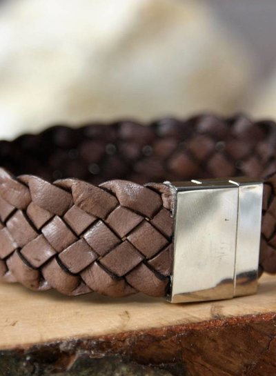 MensHaves Mannenarmband Brown Leather Tough