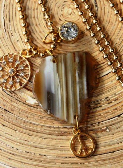 HanneHaves Lange ketting gold Brown Stone