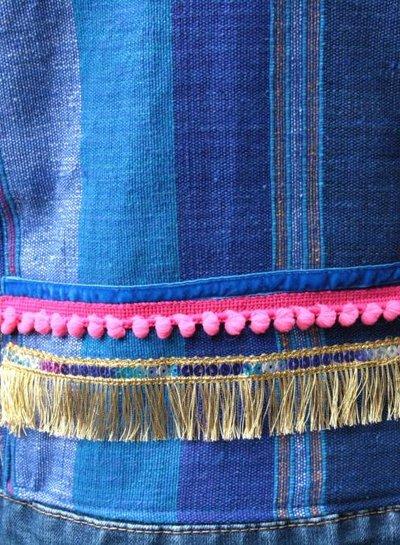 HanneHaves Spijkerjack blue pink bohemien style maat 38