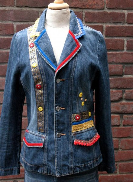 HanneHaves Spijkerblazer red, bleu, yellow maat 38
