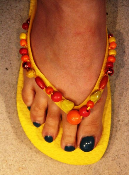 HanneHaves Teenslippers Yellow/Orange/Red maat 40/41
