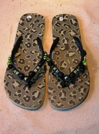 HanneHaves Teenslippers Camouflage Green/Black maat 40/41
