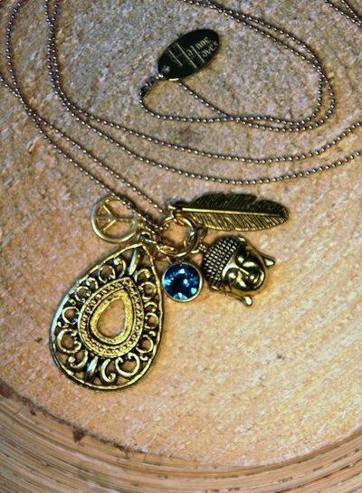 HanneHaves Lange ketting goud Buddha Blue