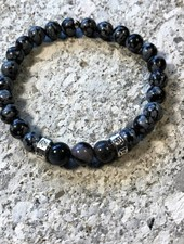 MensHaves Mannenarmband Shades of Grey Obsidiaan