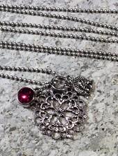 HanneHaves Lange ketting antiek zilver rozet
