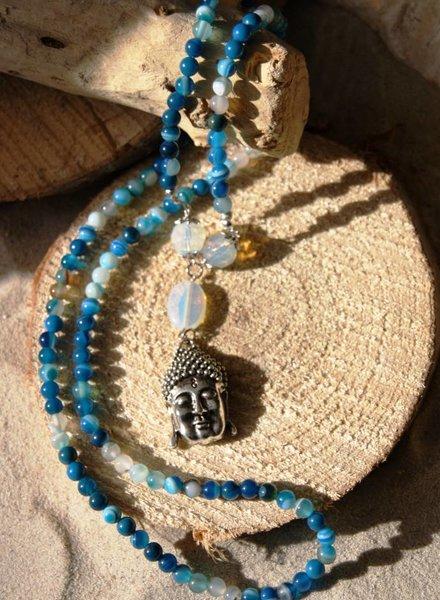 Ibiza Dances Natuursteen ketting Blauw en wit Buddha