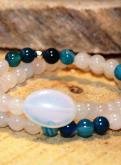 HanneHaves Natuursteen armbanden combi Wit Turquoise Grote steen