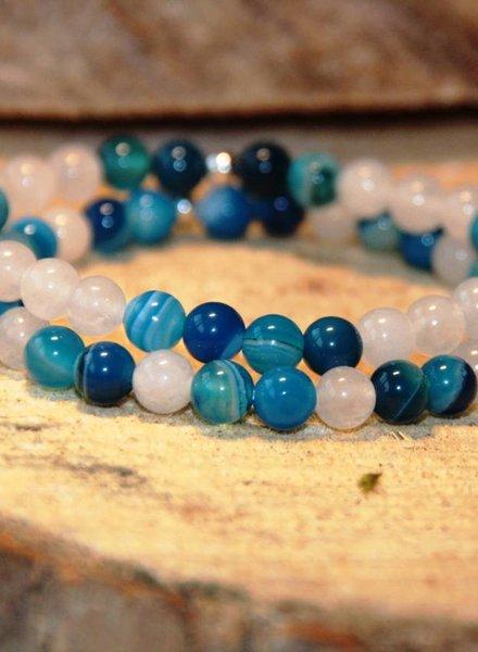 HanneHaves Natuursteen armbanden combi Wit Turquoise/Blauw