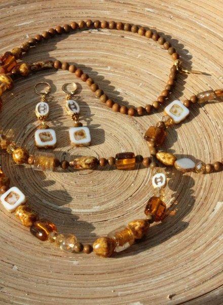HanneHaves Set Bohemian ketting, armband en oorbellen Brown Caramel