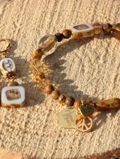 HanneHaves Set Bohemian armband en oorbellen Brown Caramel