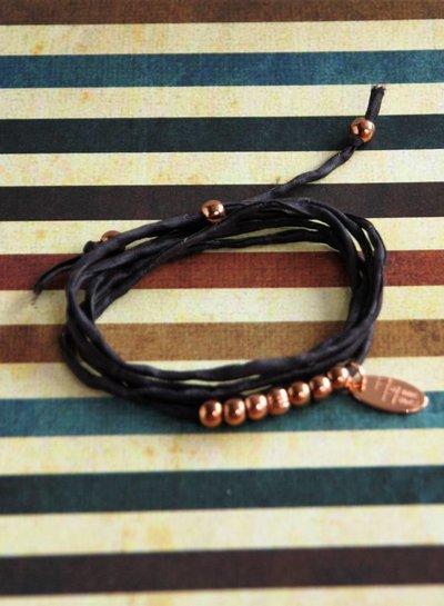 HanneHaves Zijden wikkelarmband Chocolate brown