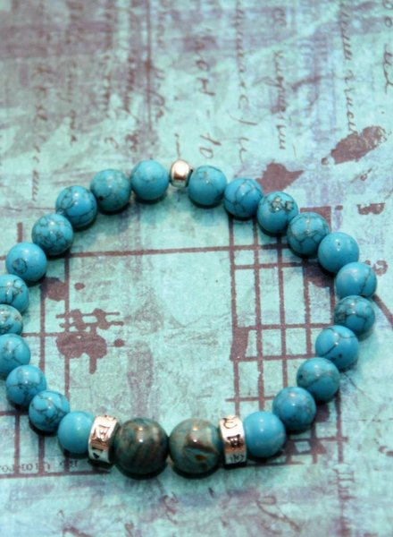 MensHaves Mannenarmband Howliet Turquoise Silver