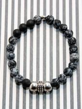 MensHaves Mannenarmband matte black grey