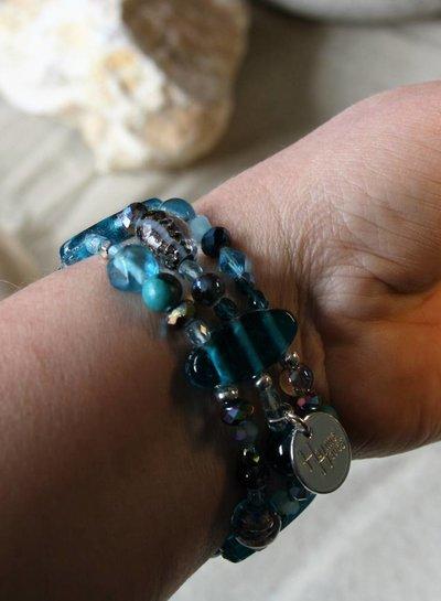 HanneHaves Bohemien 3-laags  armband Turkoois