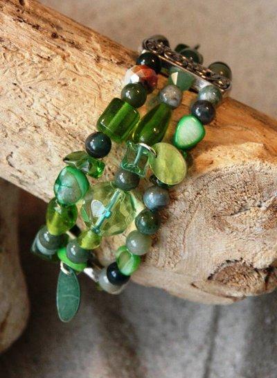 HanneHaves Bohemien 3-laags armband Groen
