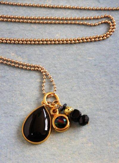 HanneHaves Lange ketting goud zwart Agaat