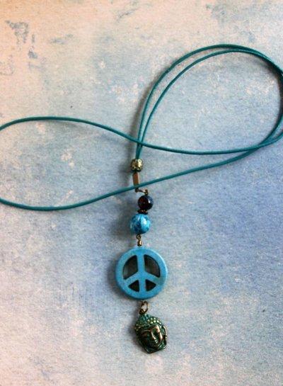 HanneHaves Ibiza ketting Peace Boeddha Turquoise