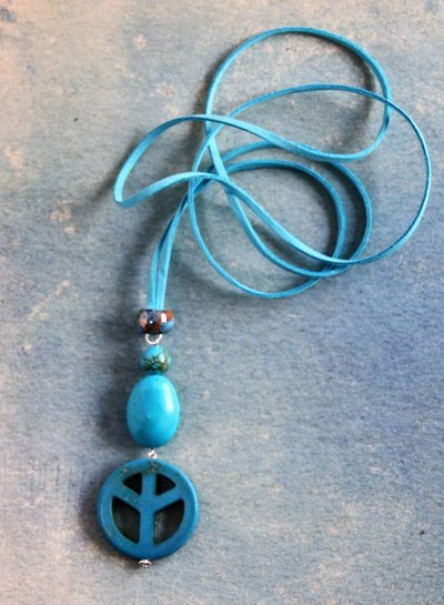 HanneHaves Ibiza ketting Peace  Turquoise