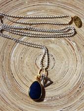 HanneHaves Lange ketting zilver goud blauw Agaat