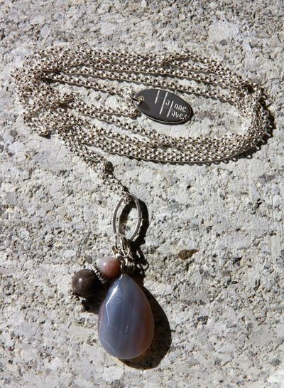 HanneHaves Lange ketting zilver taupe Agaat