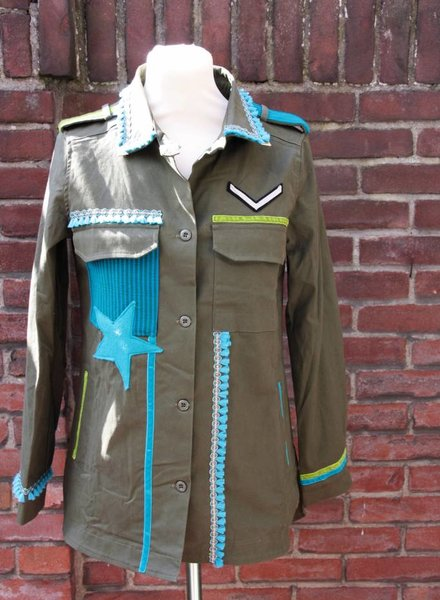 Ibiza Dances Warrior of Love Army Jacket Turquoise Green M