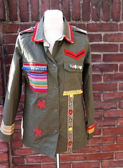 Ibiza Dances Warrior of Love Army Jacket RedStars M  IbizaDances HanneHaves  - Copy