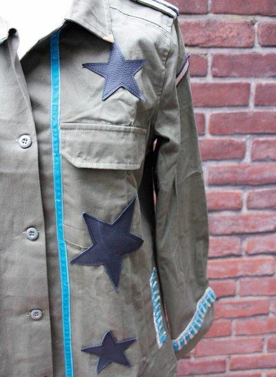 Ibiza Dances Warrior of Love Army Jacket Black Turquoise L IbizaDances