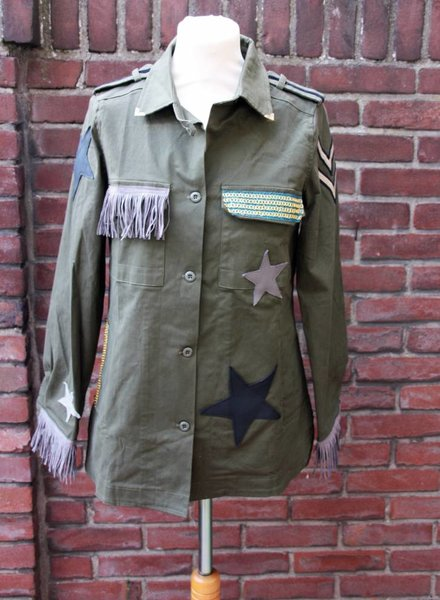 Ibiza Dances Warrior of Love Army Jacket Taupe Stars M