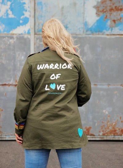Ibiza Dances Warrior of Love Army Jacket Red Turquoise Stars L IbizaDances