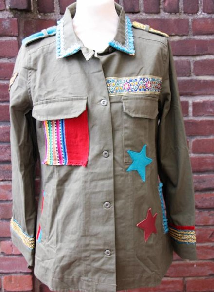 Ibiza Dances Warrior of Love Army Jacket Red Turquoise Stars L