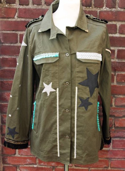 Ibiza Dances Warrior of Love Army Jacket 3 Stars Back L