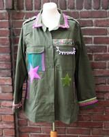 Ibiza Dances Warrior of Love Army Jacket Green Purple XL