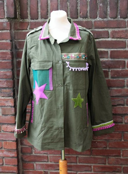 Ibiza Dances Warrior of Love Army Jacket Green Purple XL