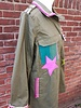 Ibiza Dances Warrior of Love Army Jacket Green Purple XL IbizaDances -HanneHaves