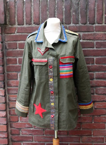 Ibiza Dances Warrior of Love Army Jacket Red Bleu XL