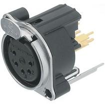 XLR Panel-mount female receptacle 5 B Verticaal / PCB Mounting Vernikkeld