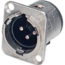 XLR Panel-mount male receptacle 3 D Verticaal / PCB Mounting Vernikkeld