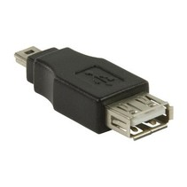 USB 2.0-Adapter Mini-B Male - USB A Female Zwart