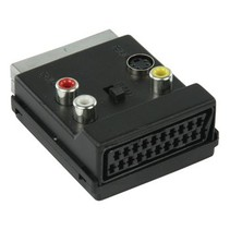 SCART-Adapter Schakelbaar SCART Male - SCART Female + S-Video Female + 3x RCA Female Zwart