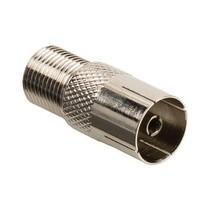 Coax-Adapter F F-Connector Female - Coax Female (IEC) Zilver