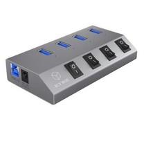 4 Poorten Hub USB 3.0 Antraciet