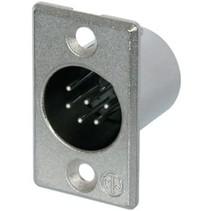 XLR Panel-mount male receptacle 6 P soldeer connectie Vernikkeld