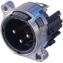 XLR Panel-mount male receptacle 3 B Verticaal / PCB Mounting Vernikkeld