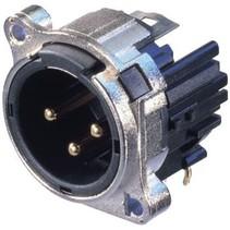 XLR Panel-mount male receptacle 3 B Horizontaal / PCB Mounting Vernikkeld