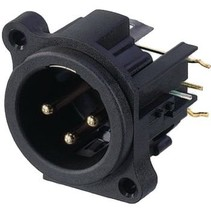 XLR Panel-mount male receptacle 3 A Right Angle / PCB Mounting Zwart