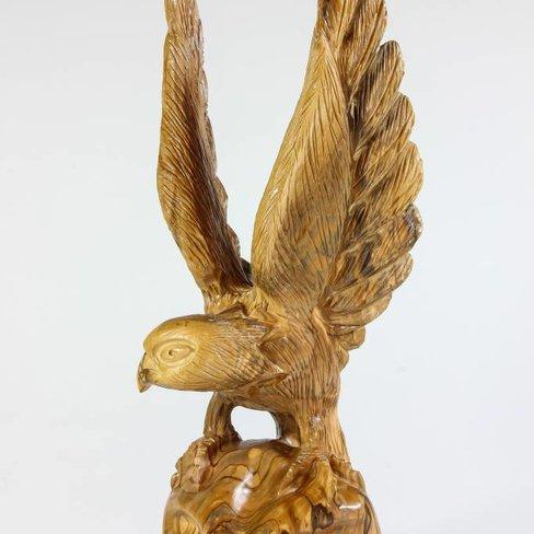 Desert Rose Unique olive wood eagle carving - 29 cm high