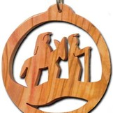 Desert Rose Olive wood ornament for Christmass tree - trip to Bethlehem in circle
